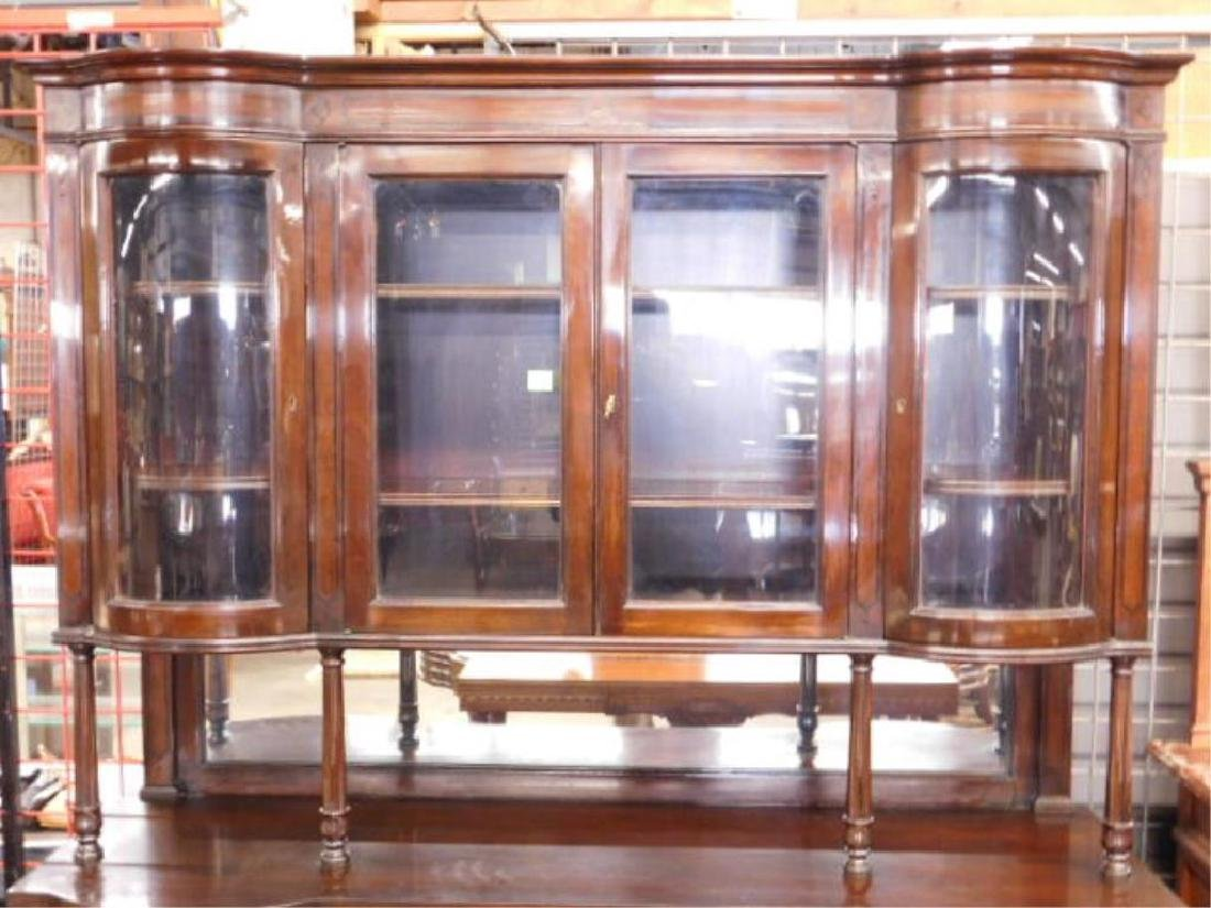 Mahogany & Glass Paneled Buffet - 4