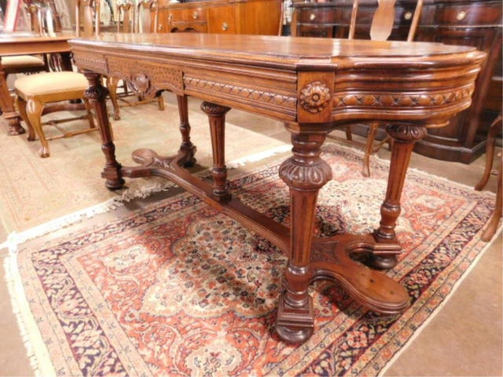 Renaissance Style Mixed Wood Library Table