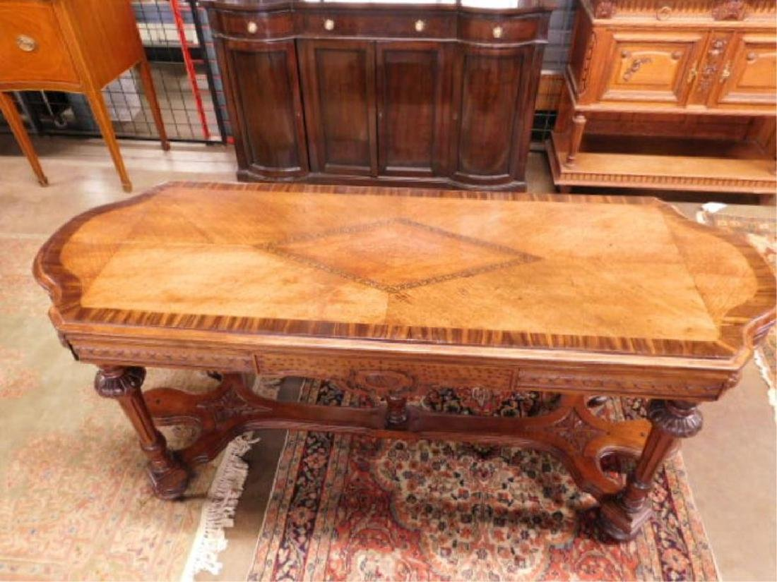 Renaissance Style Mixed Wood Library Table - 3