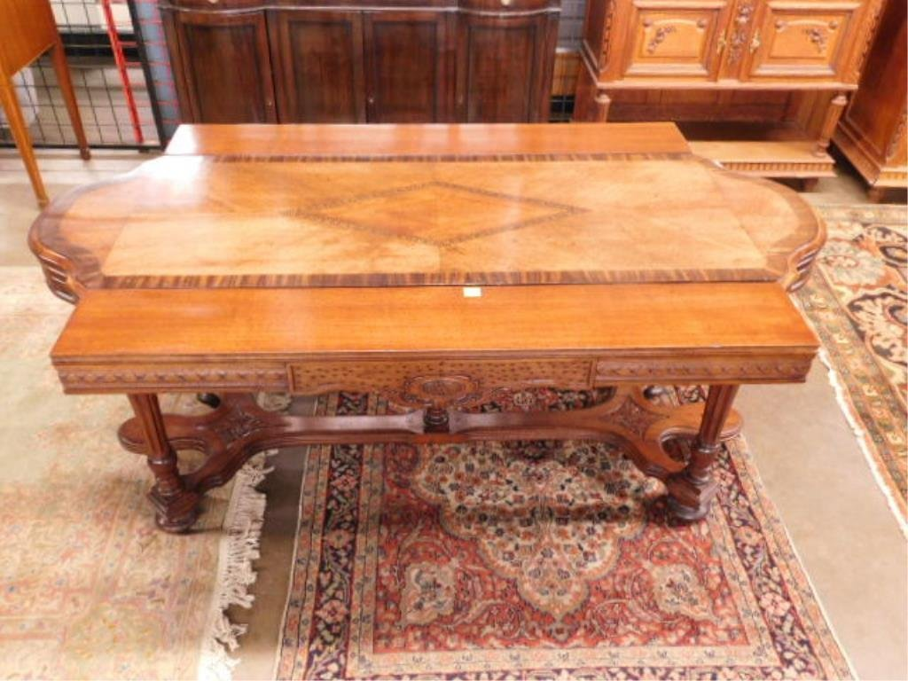 Renaissance Style Mixed Wood Library Table - 9