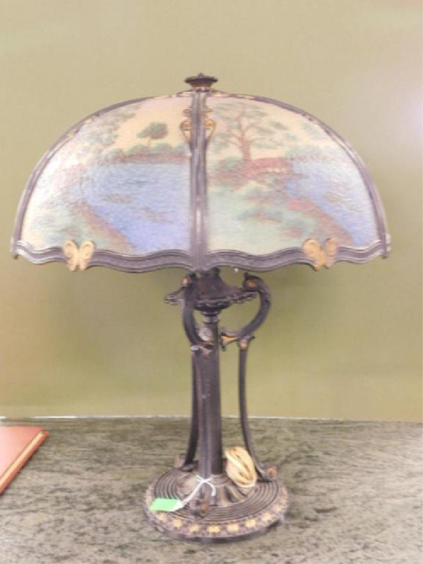 Reverse Painted Glass Shade Table Lamp