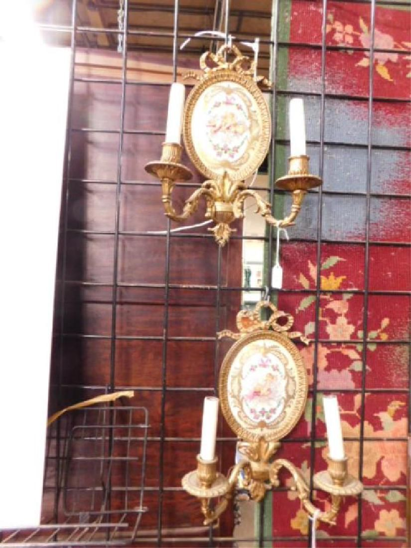 Sevres Style French Porcelain & Brass Wall Sconces