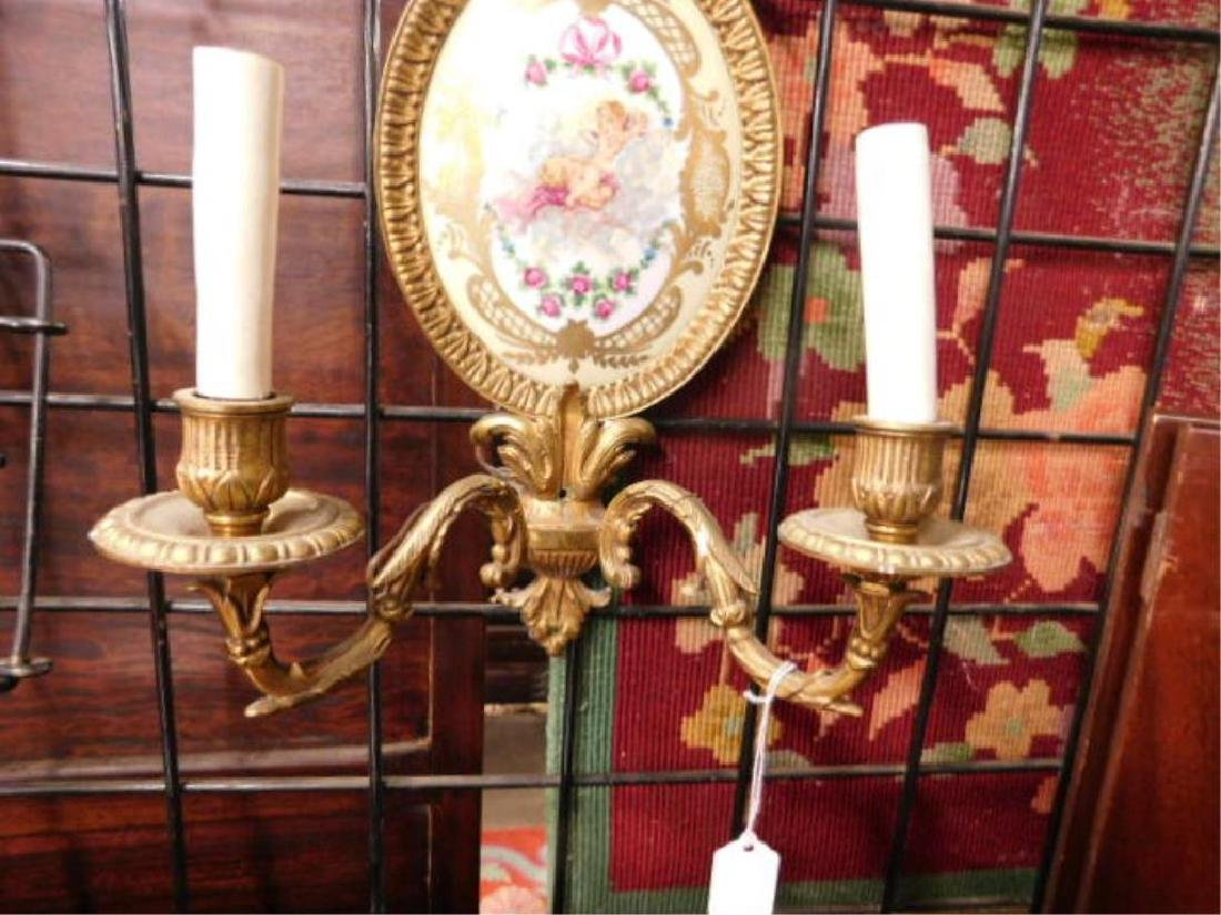 Sevres Style French Porcelain & Brass Wall Sconces - 3