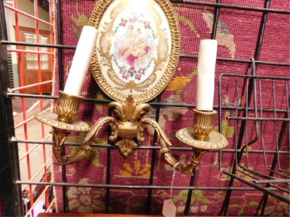 Sevres Style French Porcelain & Brass Wall Sconces - 4