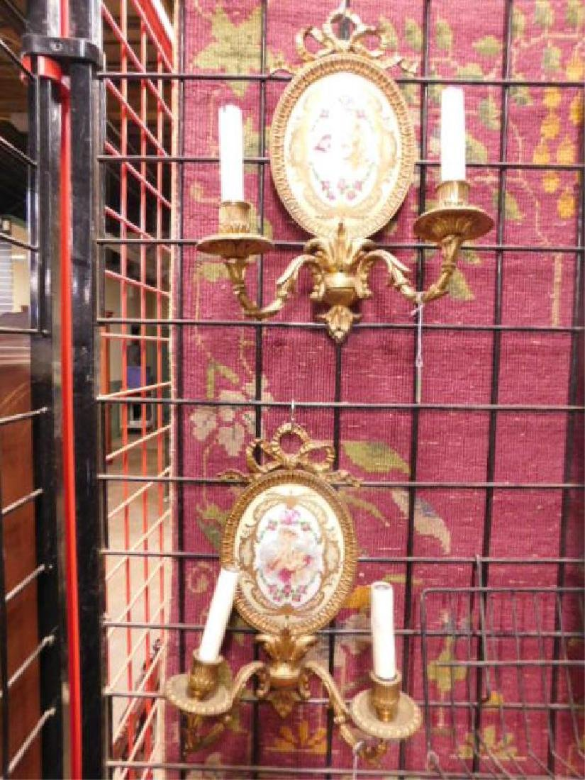 Sevres Style French Porcelain & Brass Wall Sconces - 5
