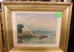 Unsigned Bermuda Ocean Scene Watercolor