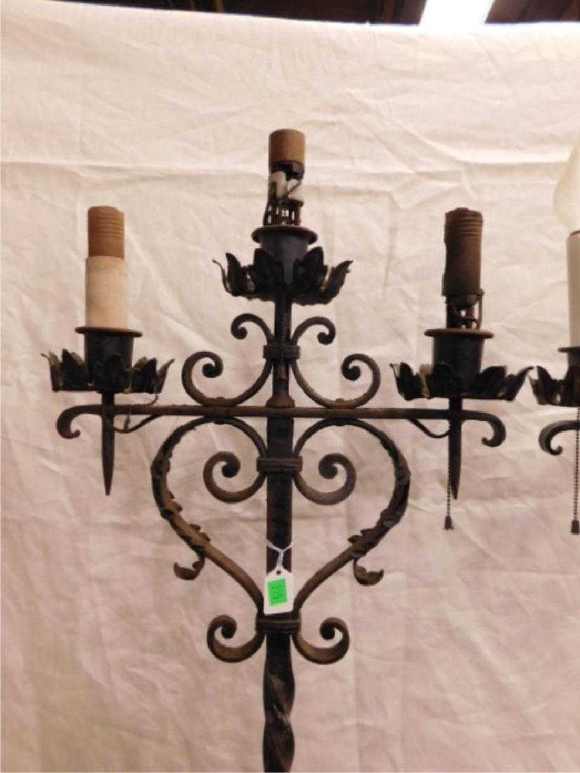 Jacobean Style Wrought Iron Floor Candelabra - 5