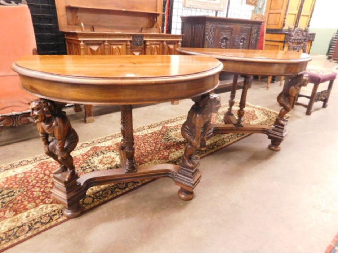 Pair Walnut Demilune Figural Console Tables