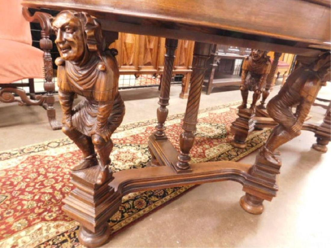 Pair Walnut Demilune Figural Console Tables - 2
