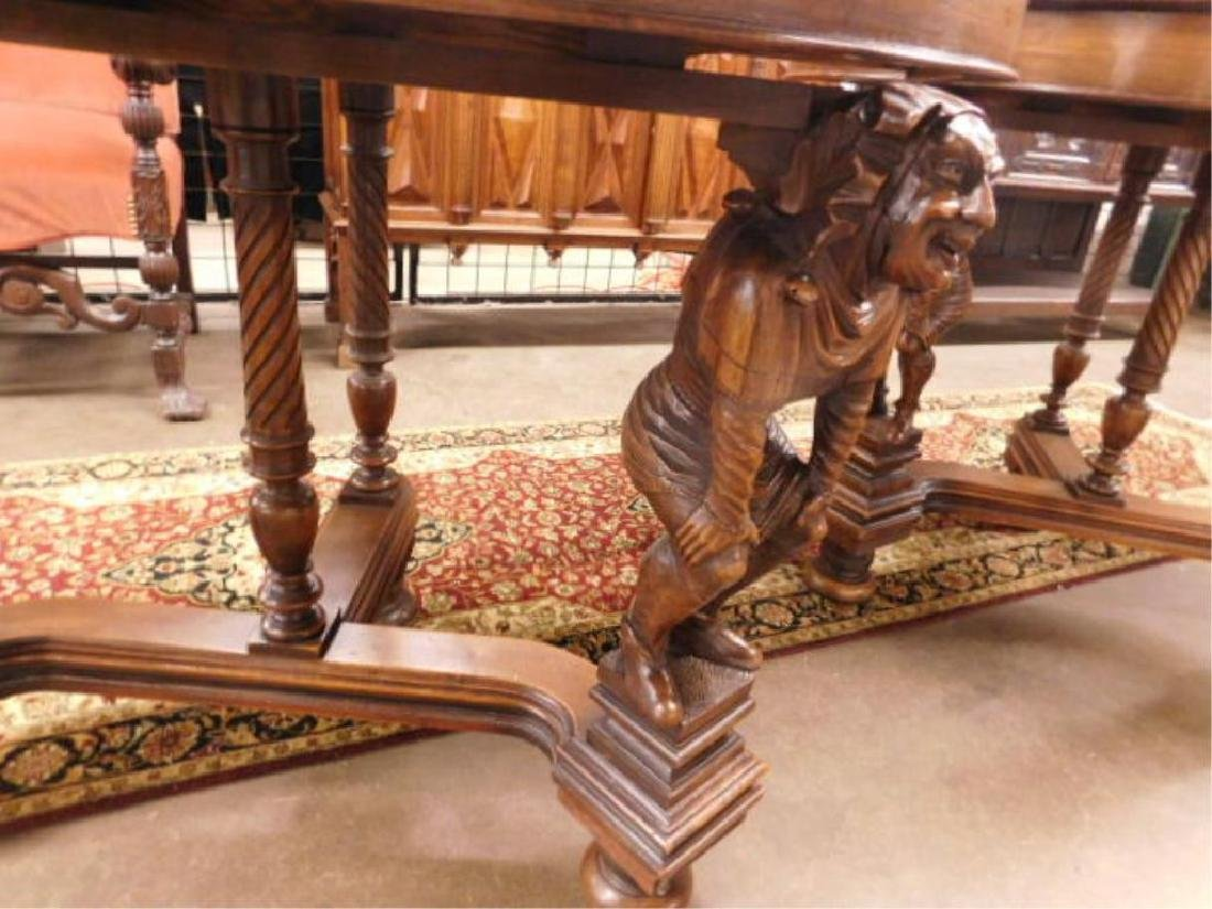 Pair Walnut Demilune Figural Console Tables - 3