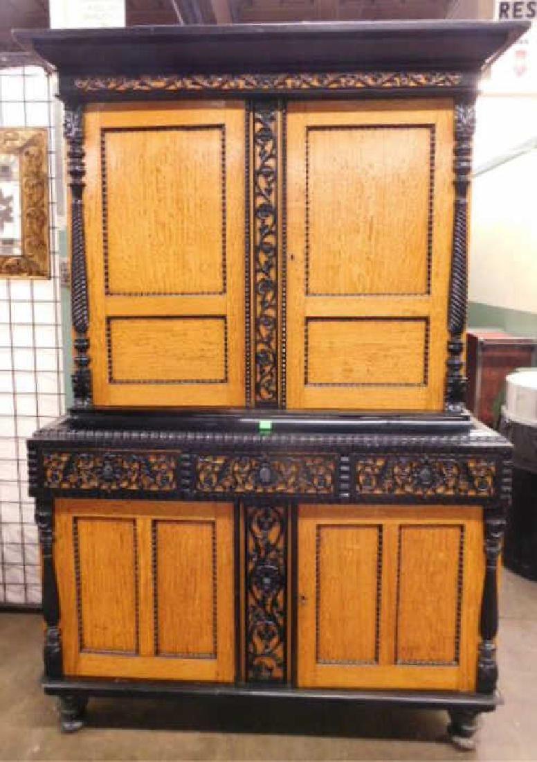Biedermeier Style Curly Maple Custom Cabinet