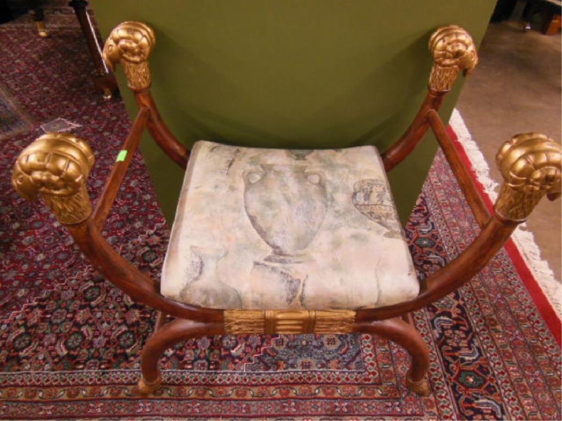 Neoclassical Style Hardwood Curule Bench