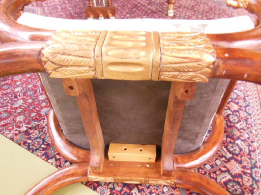 Neoclassical Style Hardwood Curule Bench - 5