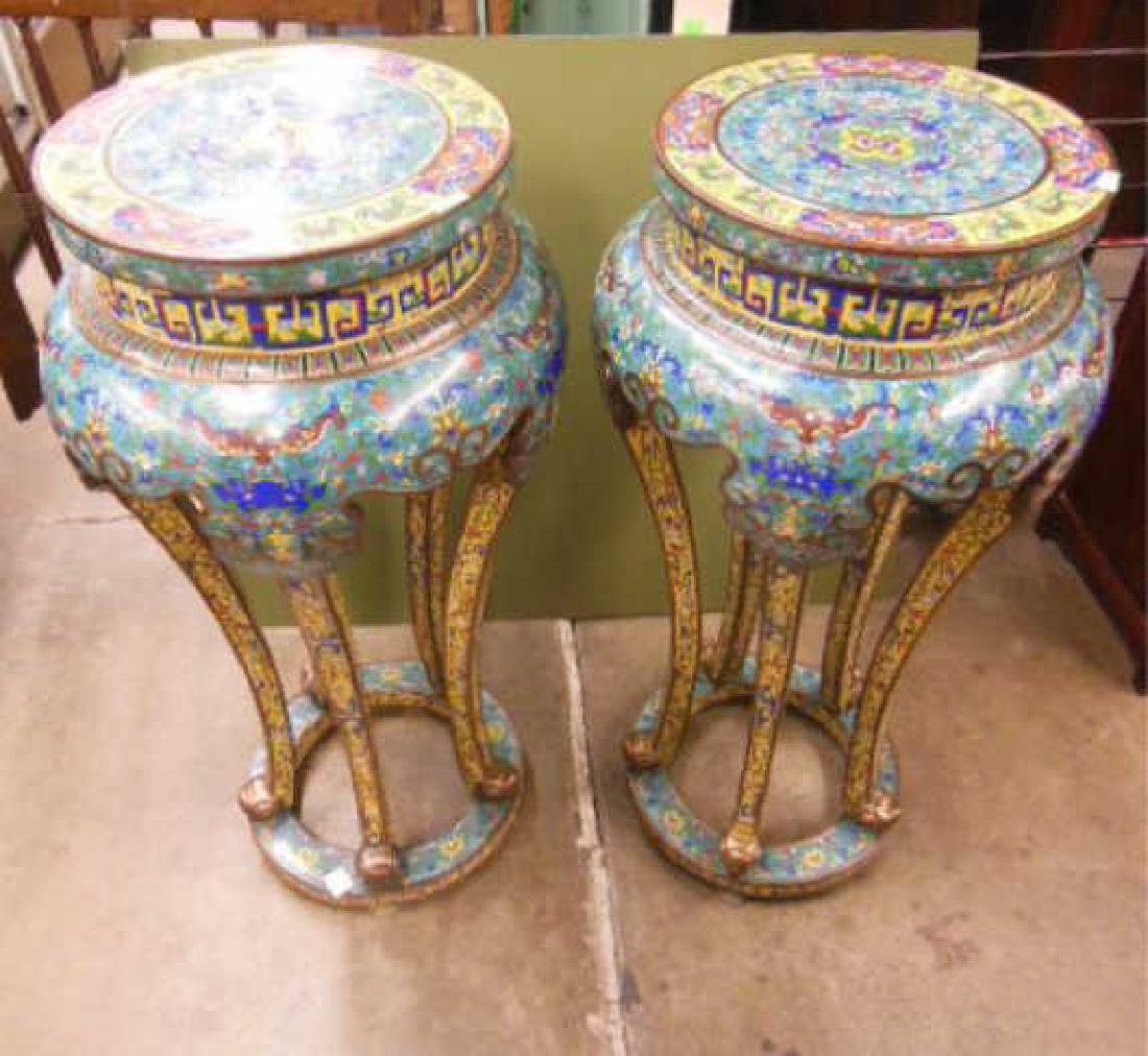 Pair Chinese Cloisonne Pedestal Tables