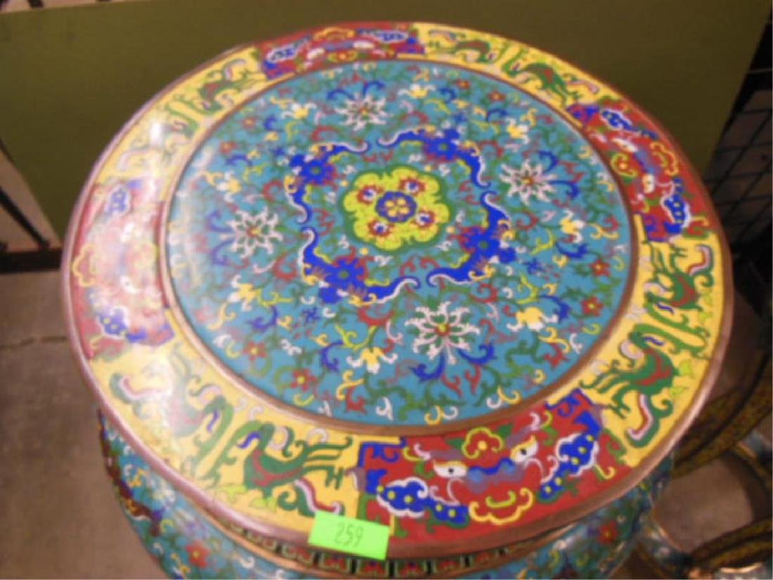 Pair Chinese Cloisonne Pedestal Tables - 2