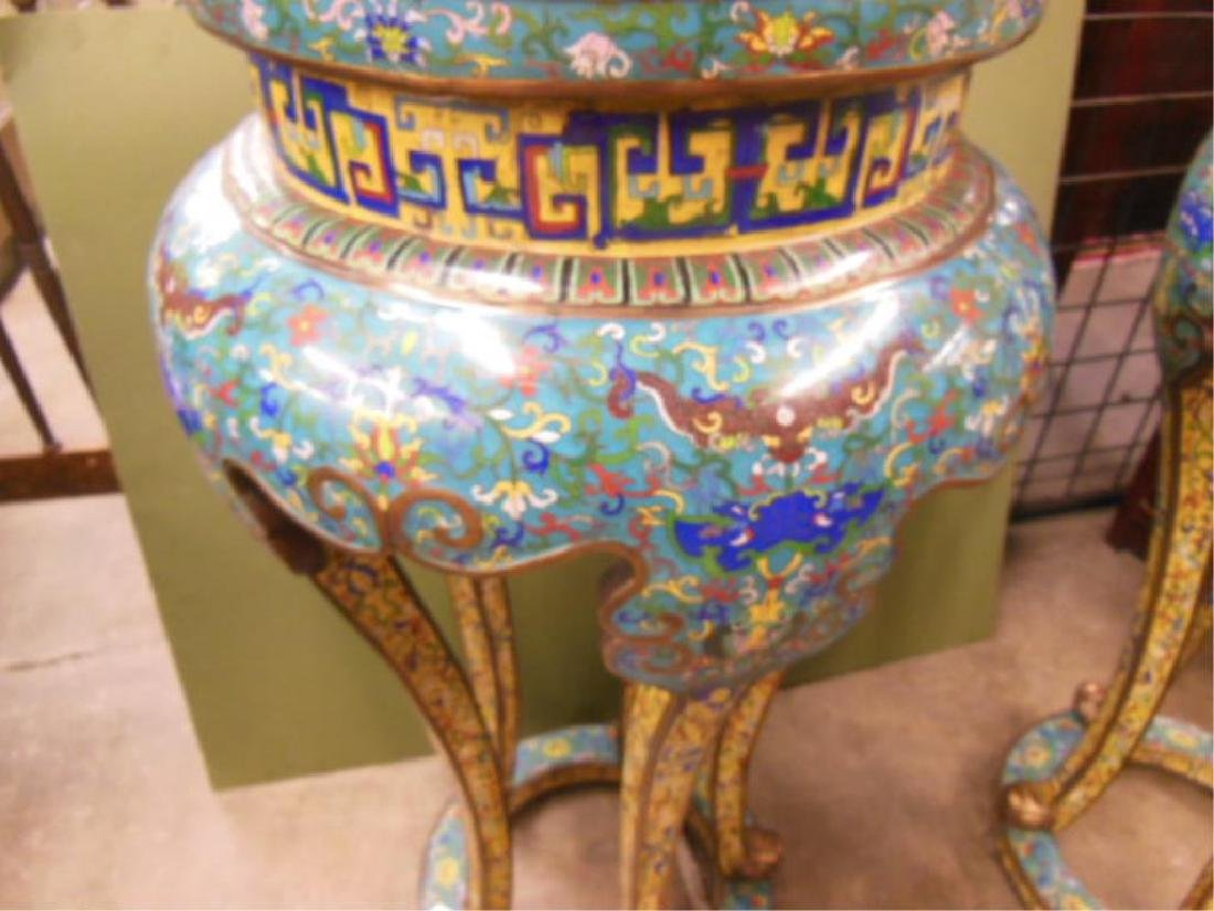 Pair Chinese Cloisonne Pedestal Tables - 3