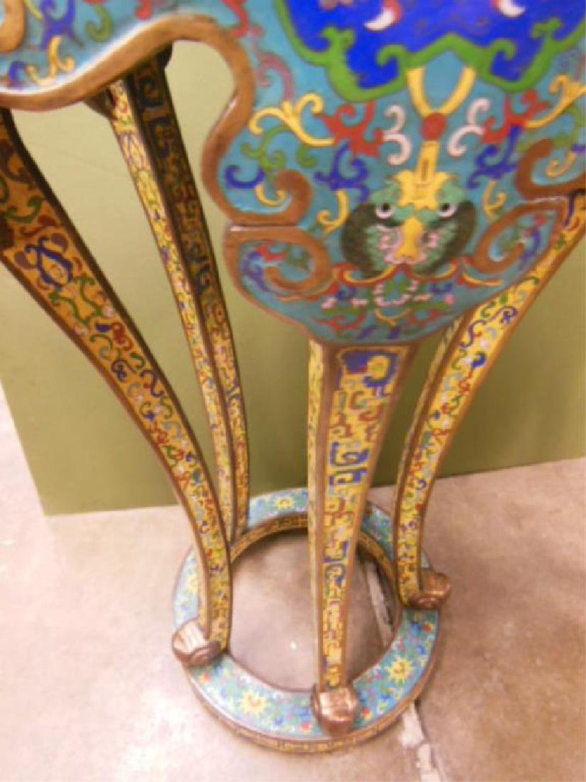 Pair Chinese Cloisonne Pedestal Tables - 4