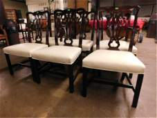 Six Chippendale Style Dining Room Chairs