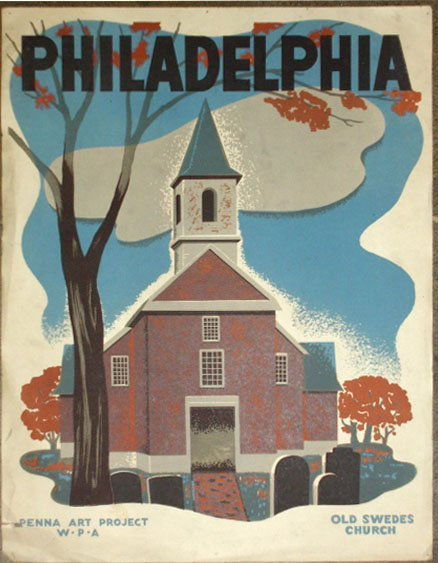 1008: 1941 WPA Old Swedes Church Philadelphia poster