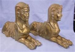 Pr Egyptian Revival Bronze Chenets