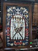 1198: Leaded & stained glass window panel