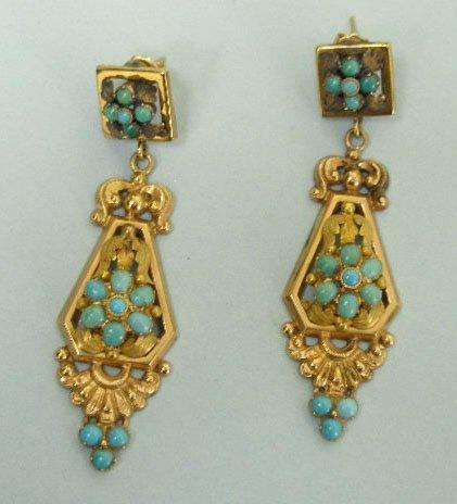 3001: Pair of Victorian pendant pierced earrings