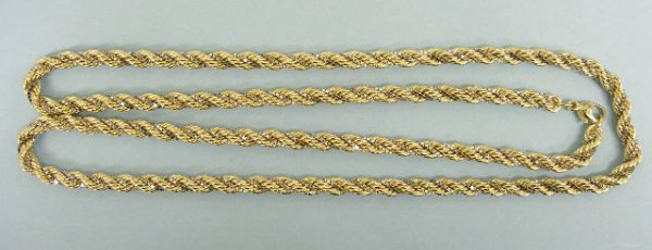 3002: Rope chain in 14k yellow and white gold