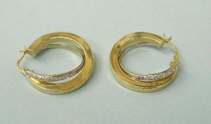 3007: Pair of double pierced hoop earrings