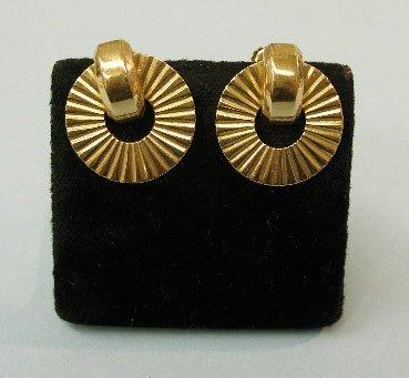 3013: Pair of 14k yellow gold retro earrings