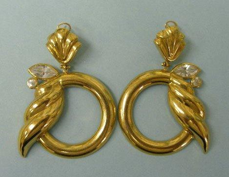 3023: Pierced 14k pendant hoop earrings