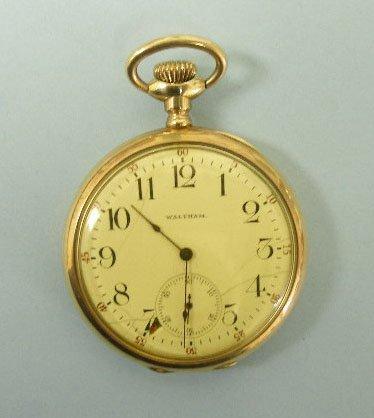 3064: Waltham 14K YG Open Face Pocket Watch