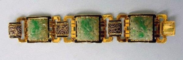 3096: Oriental gold, jade & enameled bracelet