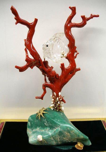 "3150: 13"" coral, diamond & gemstone sea sculpture"