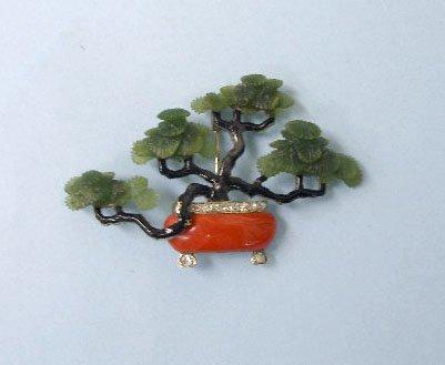 3163: WG, coral, jade & enamel Bonsai pin