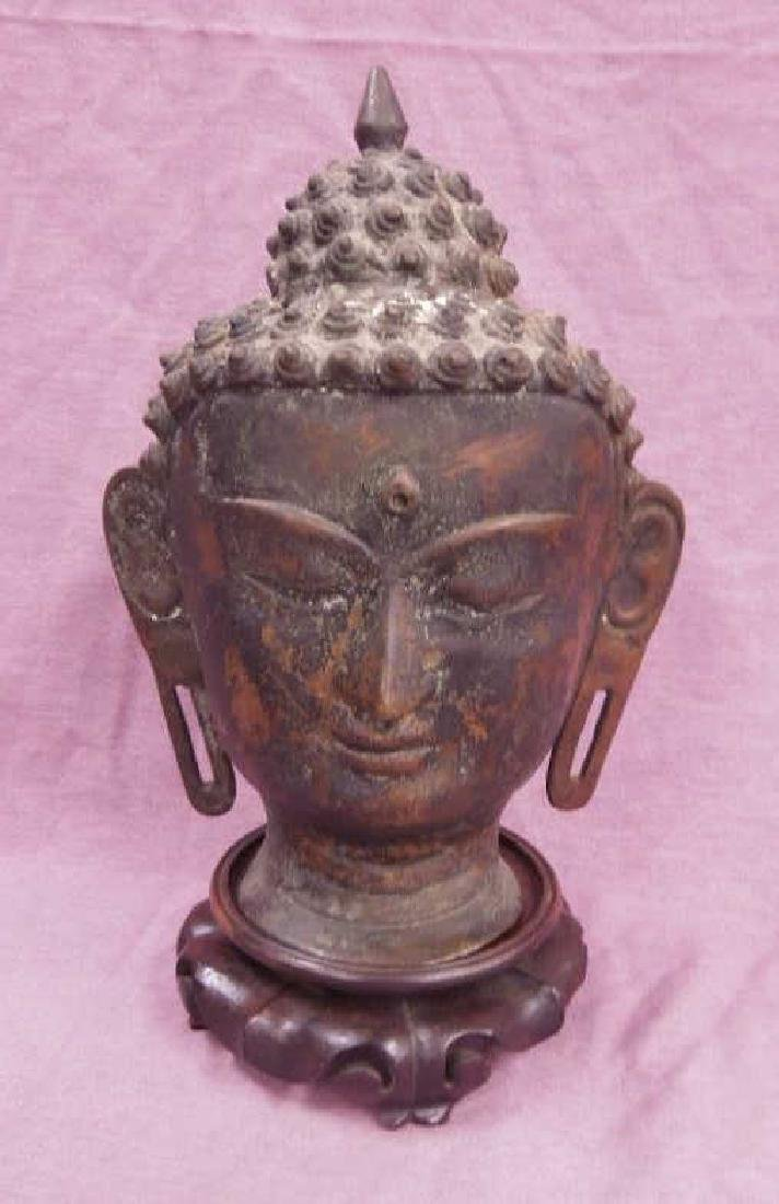 Chinese Bronze Buddha Head