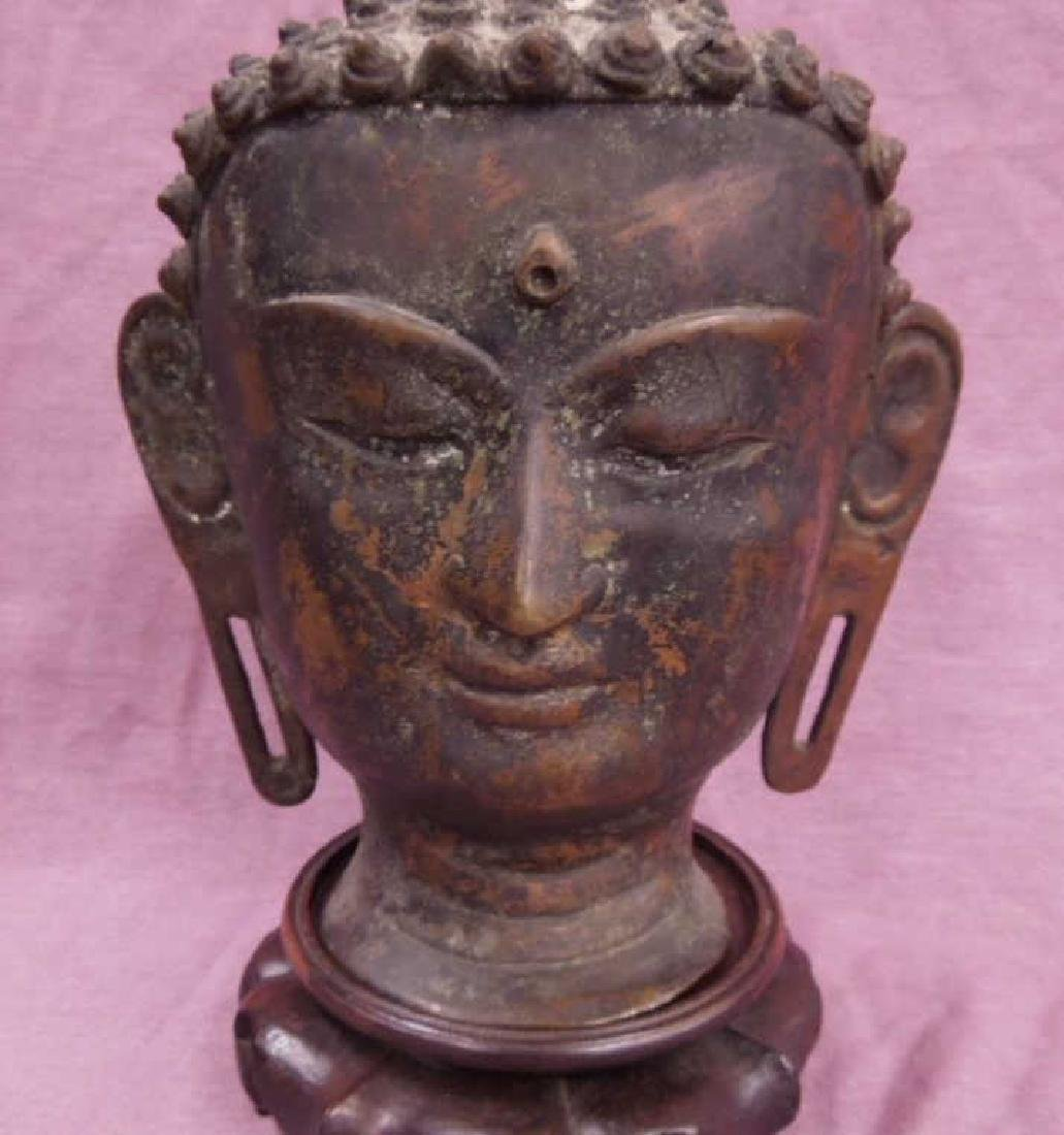 Chinese Bronze Buddha Head - 2