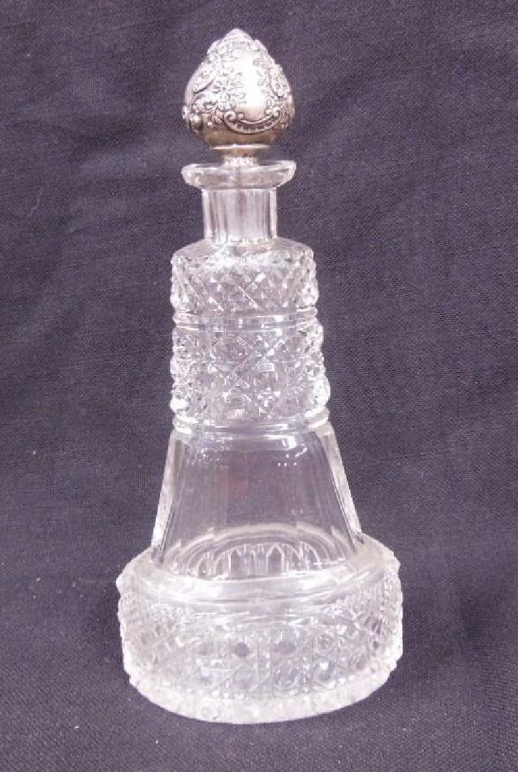 Cut Glass & Sterling Top Perfume Bottle