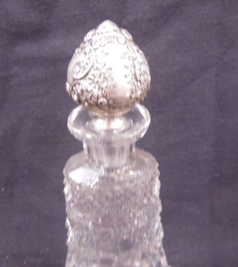 Cut Glass & Sterling Top Perfume Bottle - 3