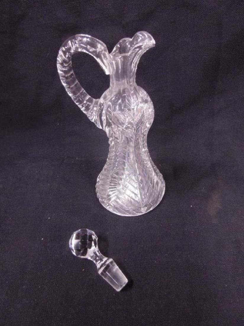 American Cut Glass Oil Cruet Bottle - 2