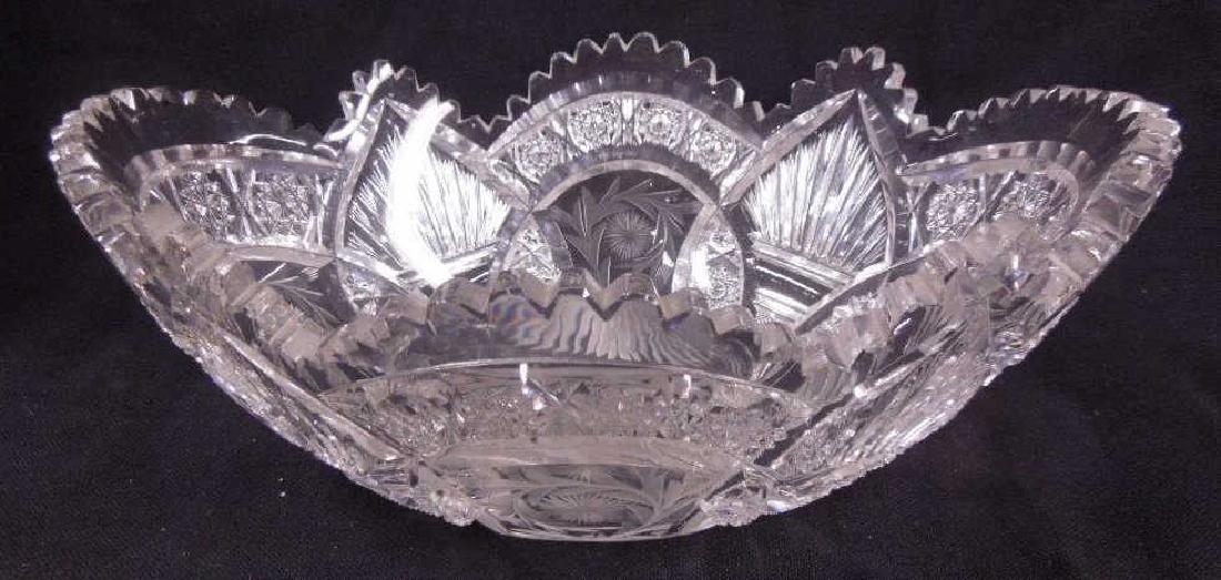 American Cut Glass Banana Bowl - 2
