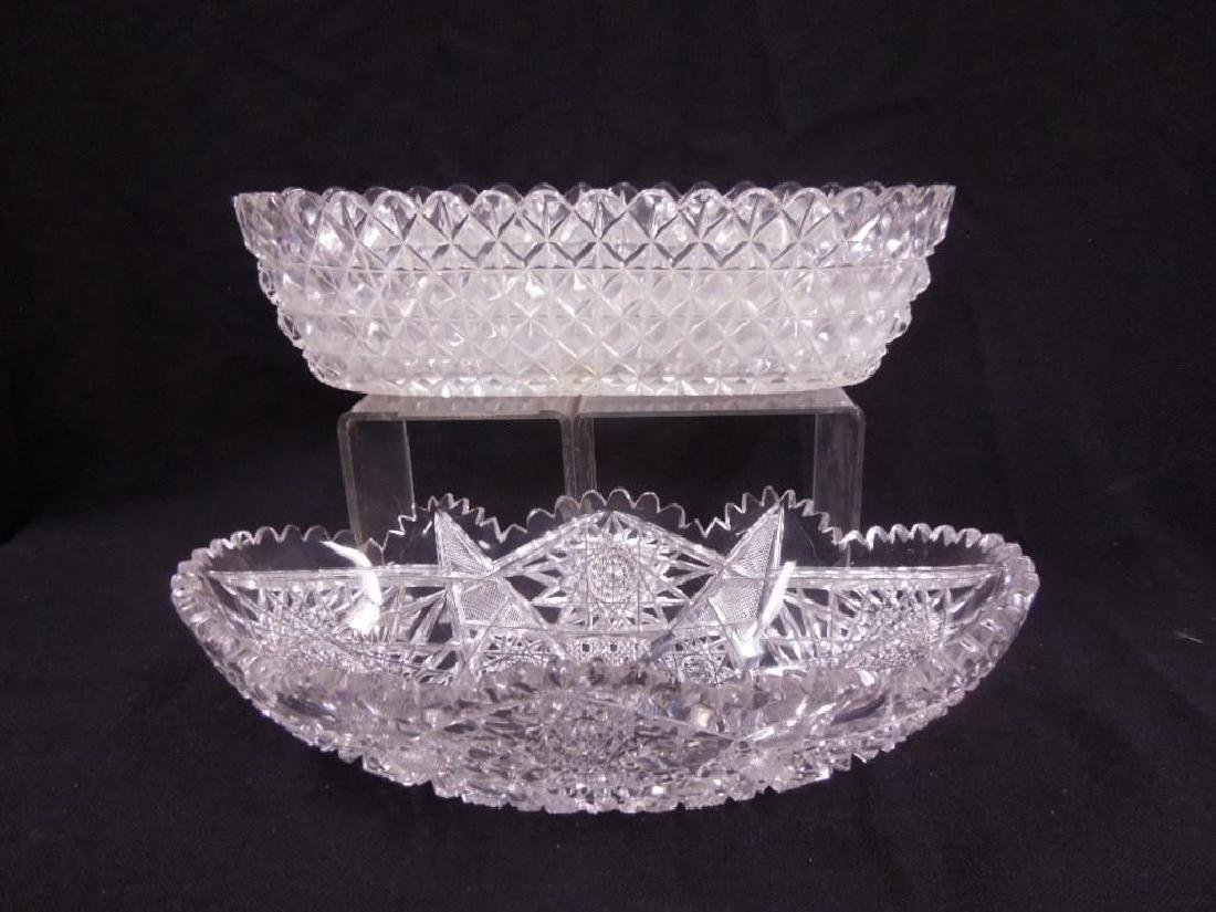 Two American Cut Glass Celery Trays