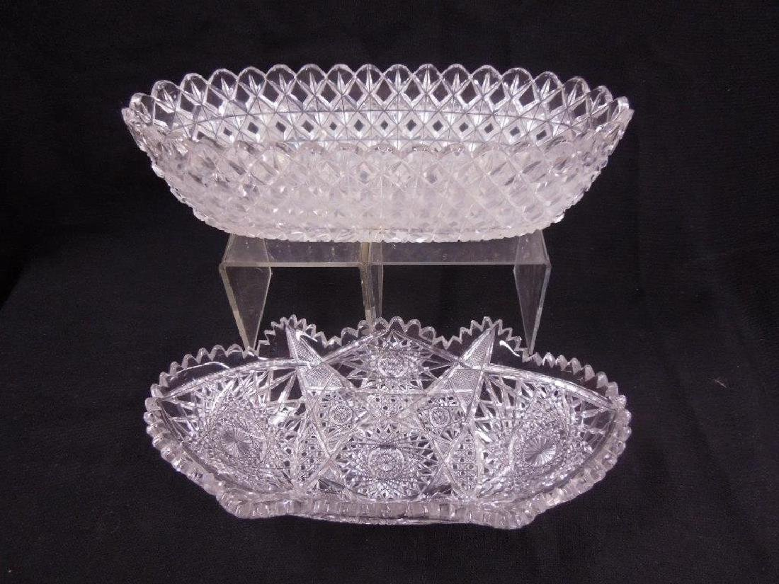 Two American Cut Glass Celery Trays - 2