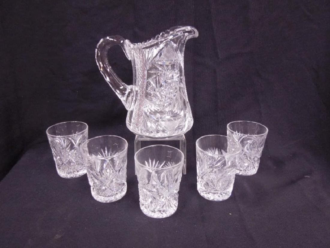American cut Glass Pitcher & Tumblers Set