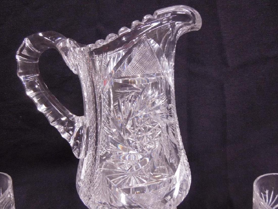 American cut Glass Pitcher & Tumblers Set - 2