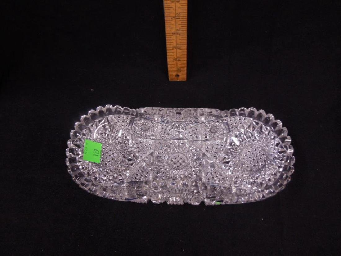 Two American Cut Glass Celery Trays - 3