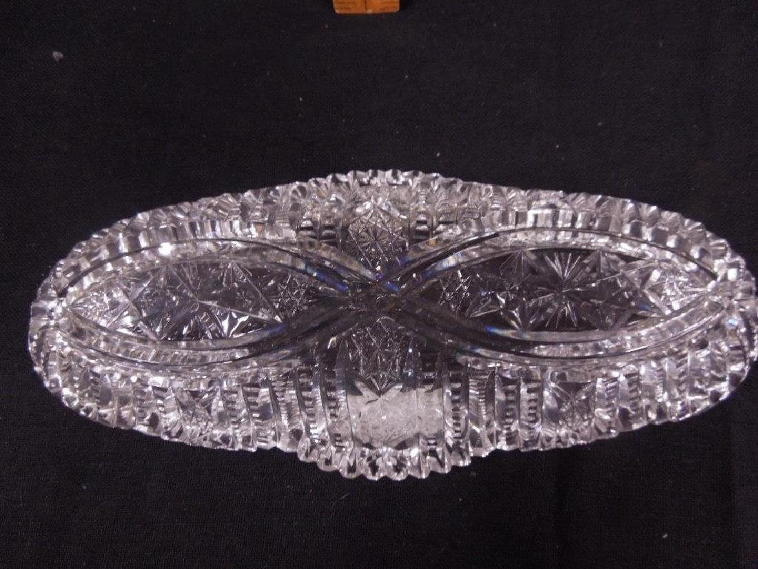 Two American Cut Glass Celery Trays - 4