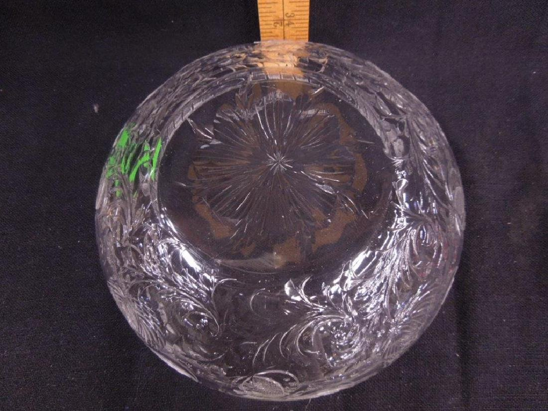 Intaglio Cut Crystal Glass Bowl - 3