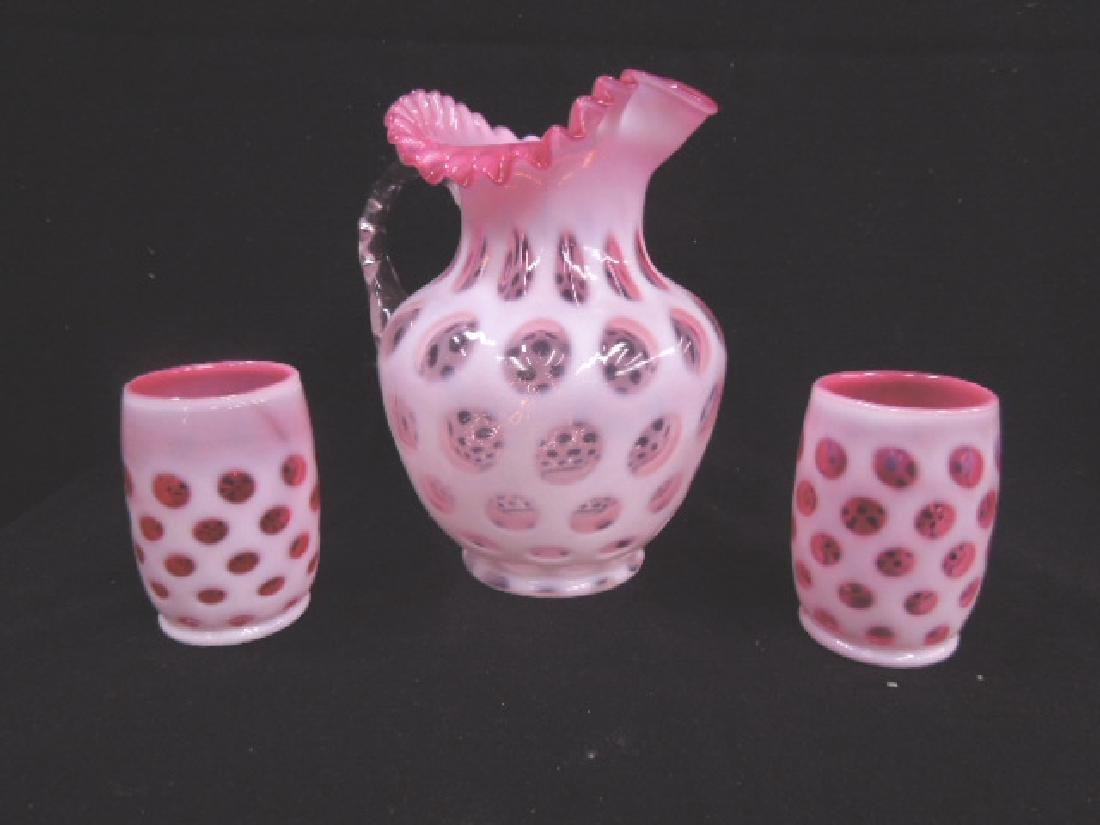 Cranberry Opalescent Lemonade Set