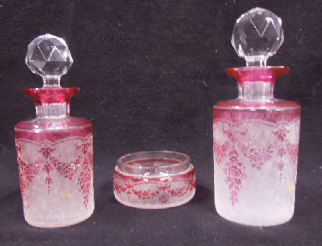 Val St. Lambert Cameo Glass Dresser Set