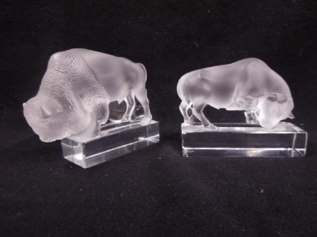 Lalique Bison & Bull Paperweights